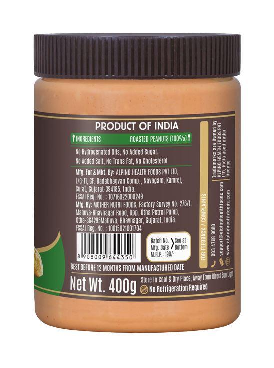 Picture of Alpino Natural Peanut Butter Smooth Unsweetened / Gluten Free / Non-GMO 400g