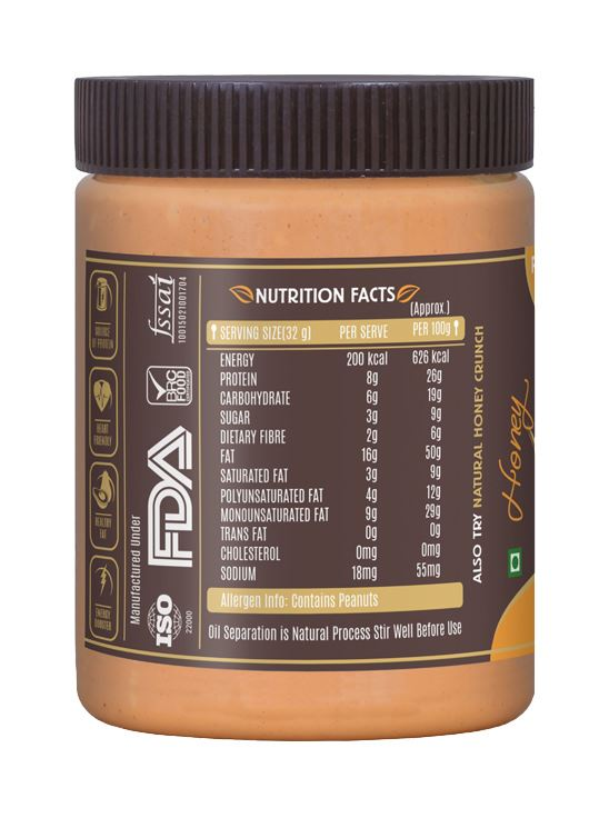 Picture of Alpino Natural Honey Peanut Butter Smooth Gluten Free / Non-GMO 400g