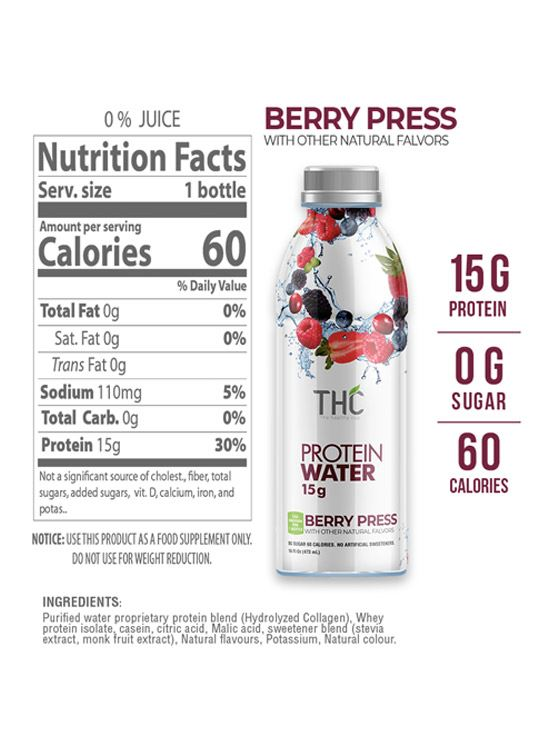 Picture of The Healthy Cup - Berry Press | Protein Water 1500ml (Pack of 3)