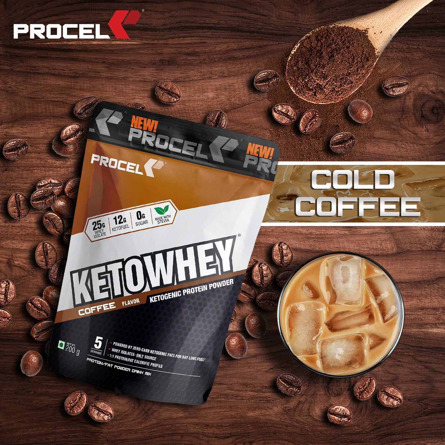 Picture of PROCEL KETOWHEY® Ketogenic Protein Powder with Ketofuel 200g Trial Pack (Coffee) (Short Shelf Life)