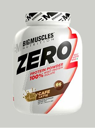Picture of Bigmuscles Nutrition ZERO Protein Powder from 100% Whey Isolate Caffe Latte 4.4 lbs