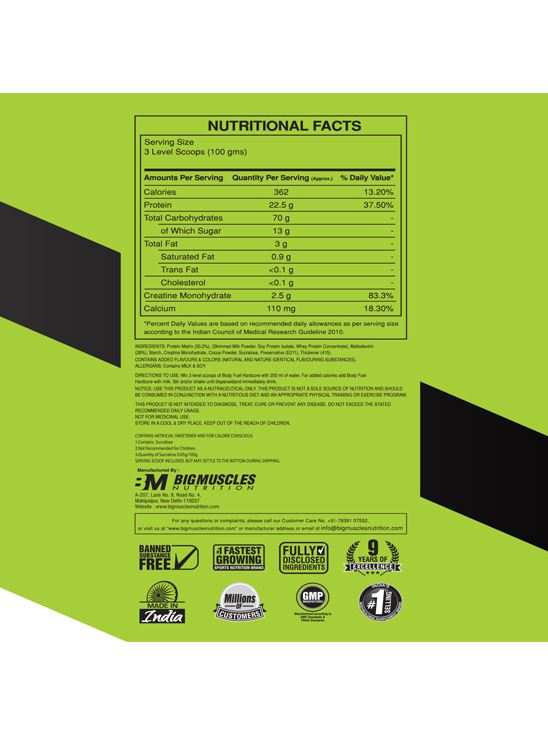Picture of Bigmuscles Nutrition Body Fuel Hardcore Malt Chocolate 6 lbs