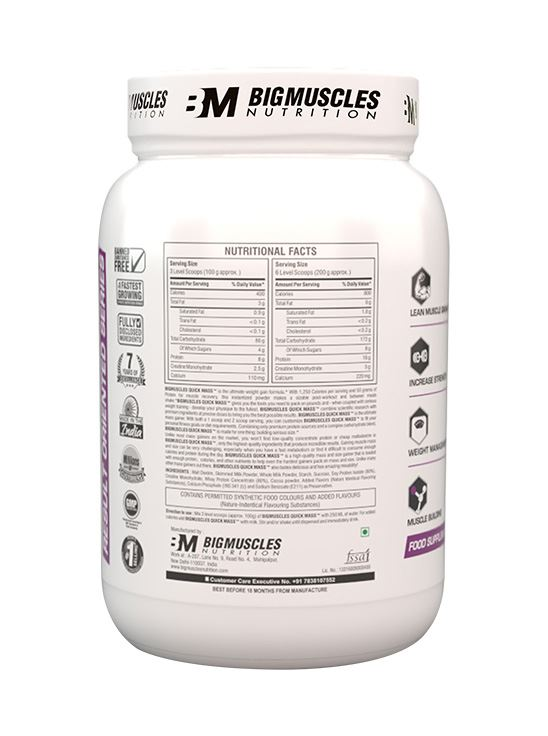 Picture of Bigmuscles Nutrition Quick Mass Strawberry 2.2 lbs
