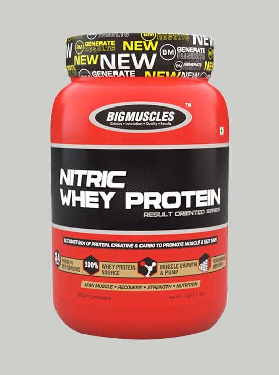 Picture of Bigmuscles Nutrition Nitric Whey Protein Strawberry Banana Twirl 900 gm
