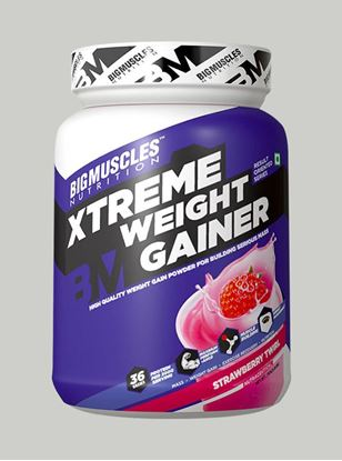Picture of Bigmuscles Nutrition Xtreme Weight Gainer Strawberry 1 kg