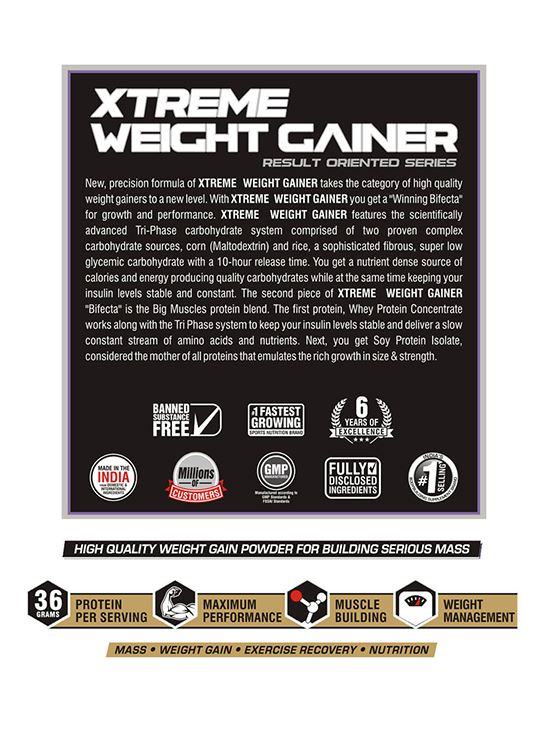 Picture of Bigmuscles Nutrition Xtreme Weight Gainer Strawberry 5 kg