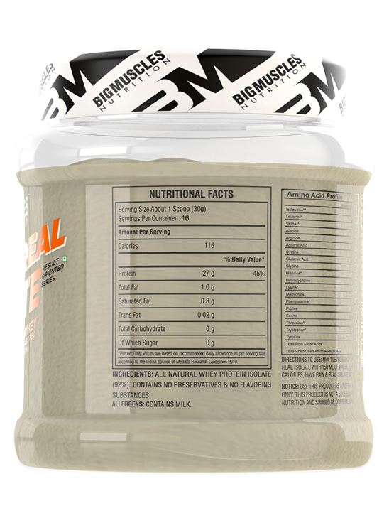 Picture of Bigmuscles Nutrition Raw & Real Isolate Whey Protein Unflavoured 480 gm
