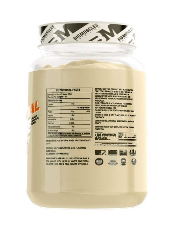 Picture of Bigmuscles Nutrition Raw & Real Isolate Whey Protein Unflavoured 2lbs