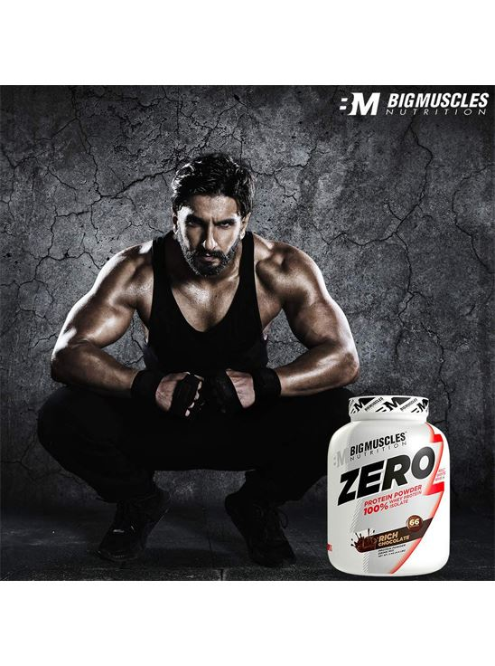 Picture of Bigmuscles Nutrition ZERO Protein Powder from 100% Whey Isolate Rich Chocolate 4.4 lbs