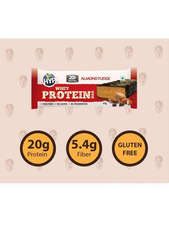 Picture of HYP Meal Replacement Whey Bar Almond Fudge Pack of 6