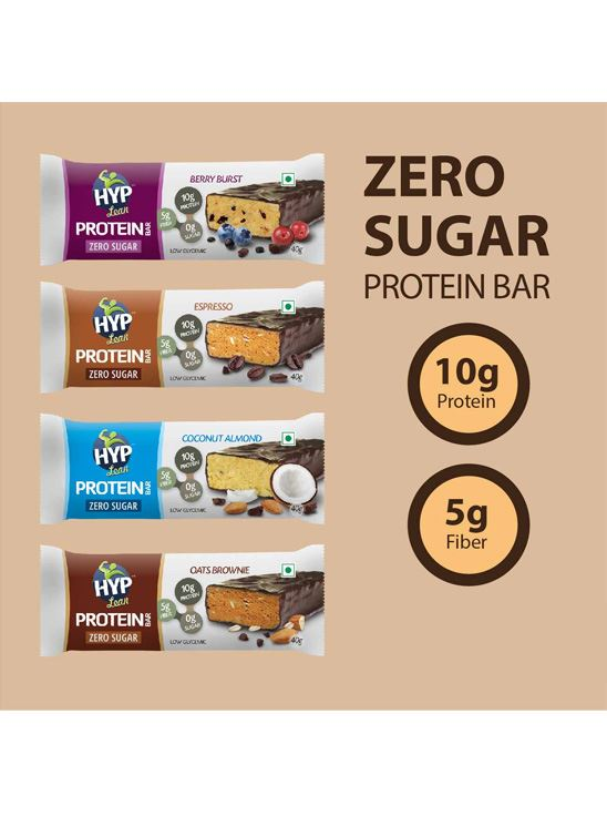 Picture of HYP Sugarfree Protein Bars Oats Brownie, Espresso,Berry Burst, Coconut Almond Pack of 8