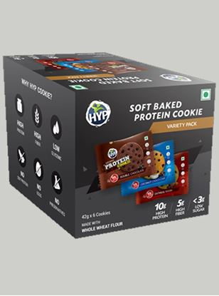 Picture of HYP Protein Cookies Double chocolate, Coconut Choco Chip, Oatmeal Raisin Pack of 6