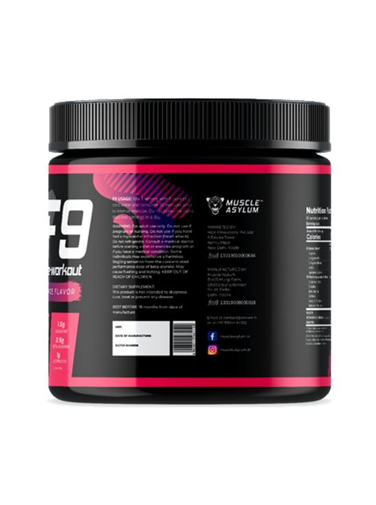 Picture of  Muscle Asylum F9 Pre-Workout Fruit Punch 50 Servings 400 gm