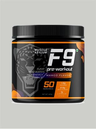 Picture of  Muscle Asylum F9 Pre-Workout Mango 50 Servings 400 gm