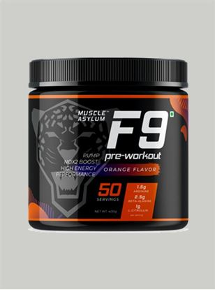 Picture of  Muscle Asylum F9 Pre-Workout Orange 50 Servings 400 gm