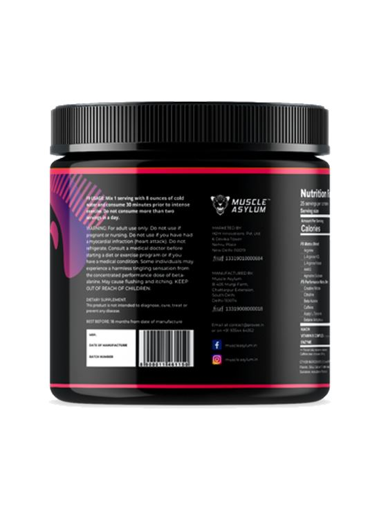 Picture of  Muscle Asylum F9 Pre-Workout Fruit Punch 25 Servings 200 gm