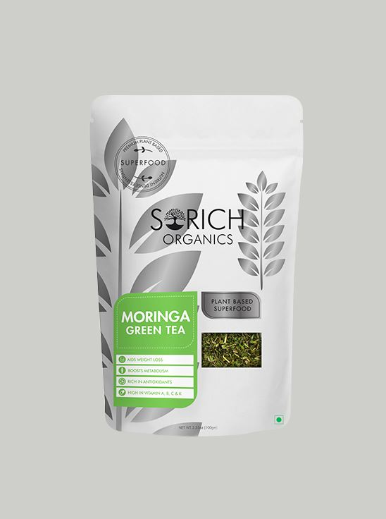 Picture of Sorich Organics Moringa Green Tea Antioxidants & Protein Rich Detox Tea For Weight Management 100 Gm