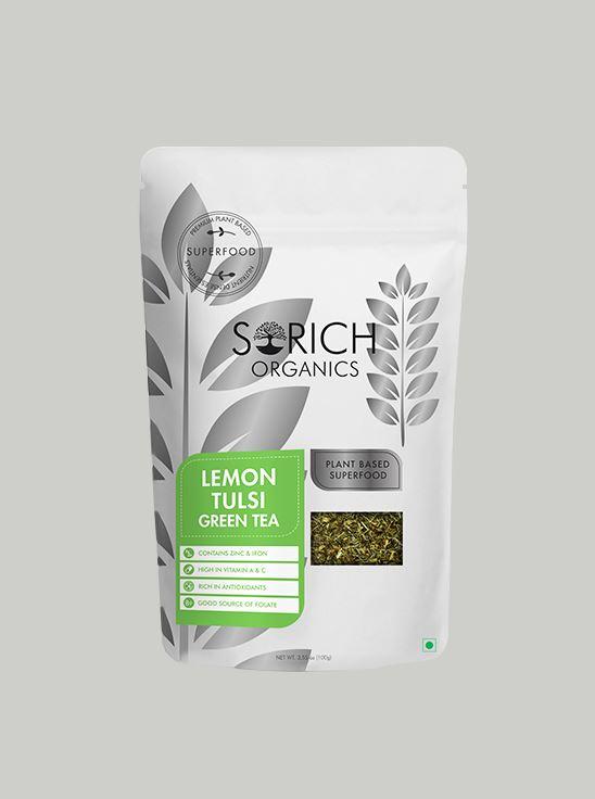 Picture of Sorich Organics Lemon Tulsi Green Tea Antioxidants Rich, Immunity Booster Detox Tea 100 Gm