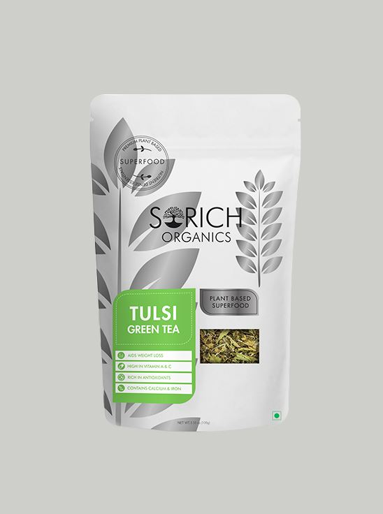 Picture of Sorich Organics Tulsi Green Tea Detox Tea, Calming Tea, Relieves Anxiety And Stress 100 Gm