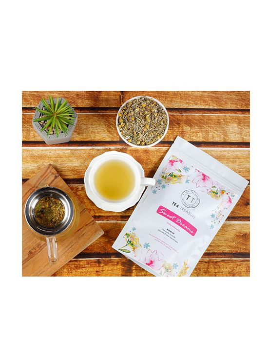 Picture of TeaTreasure Sweet Dreams Tea Chamomile & Lavender with other natural Herbs Caffeine Free Calming Tea- 50 g