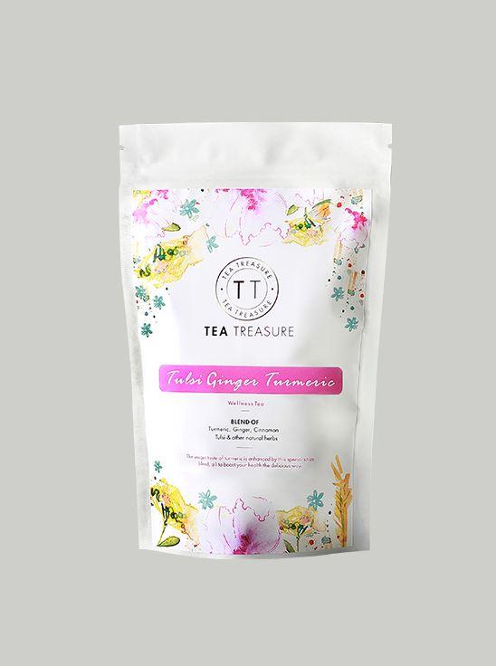 Picture of TeaTreasure Tulsi Ginger Turmeric Herbal Tea - 100 g