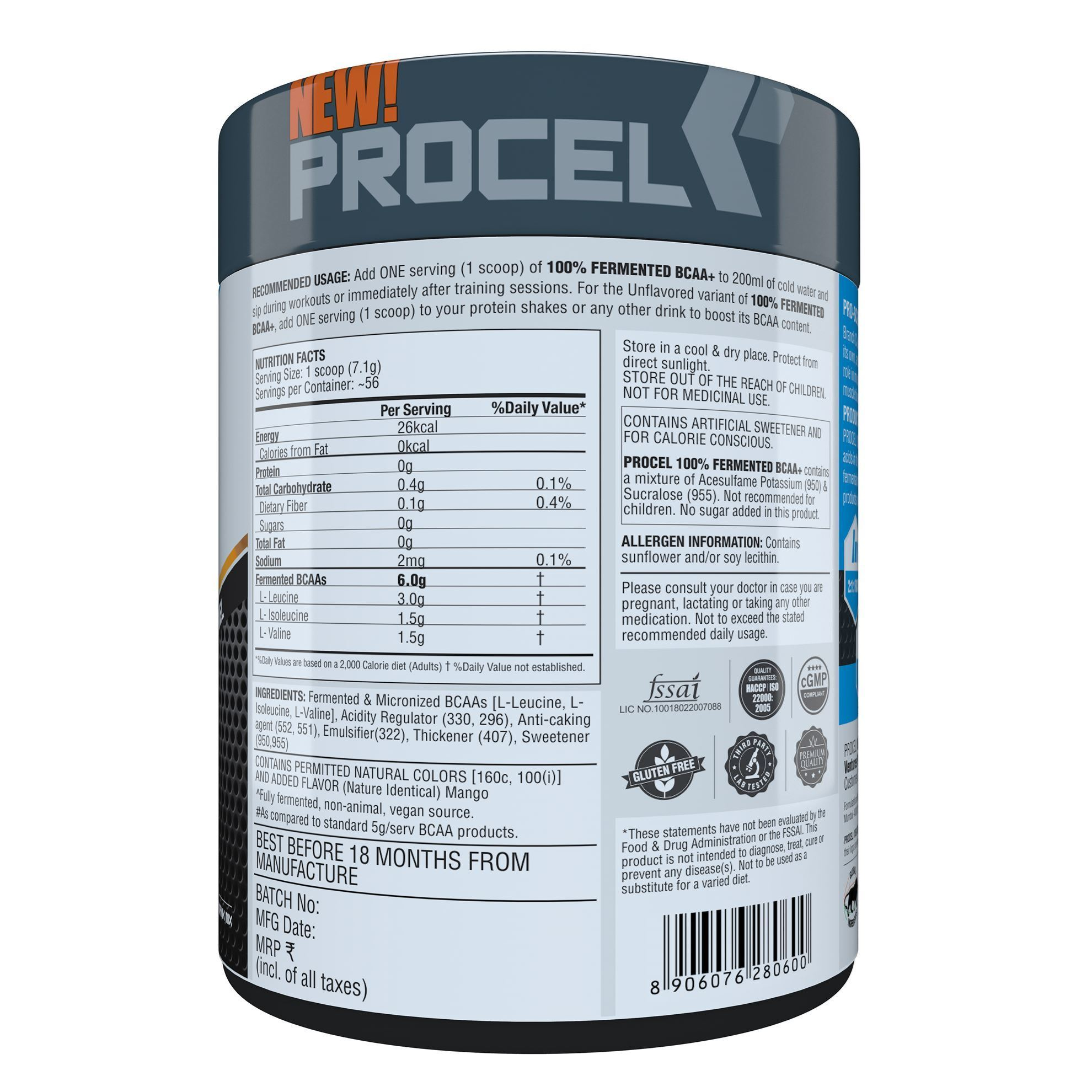 Picture of PROCEL 100% Fermented BCAA+ 400g Tropical Mango - Buy One Get One Free (Short Shelf Life)