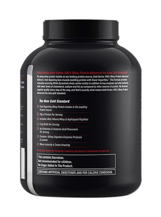 Picture of GNC Amp Gold Series 100% Whey Protein Advanced Delicious Strawberry- 4.4 lbs