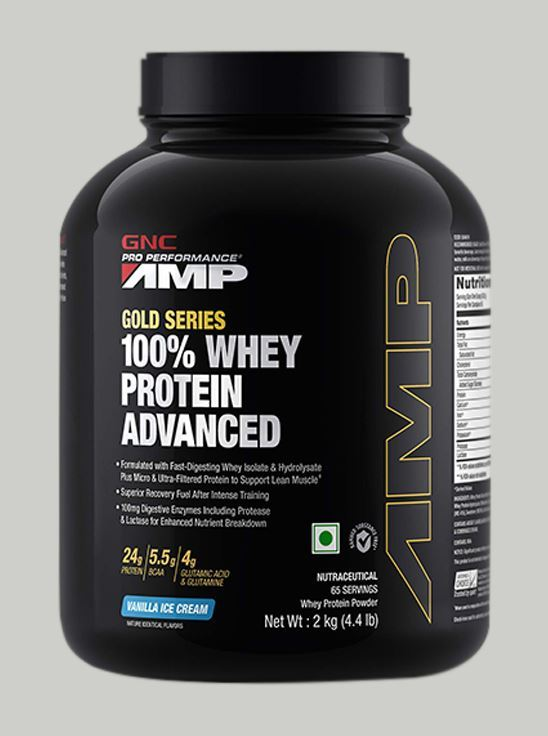 Picture of GNC Amp Gold Series 100% Whey Protein Advanced Vanilla Ice Cream- 4.4 lbs