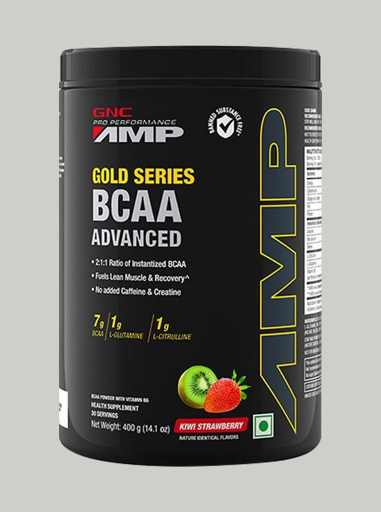 Picture of GNC AMP Gold Series BCAA Advanced with Vitamin B6 - 14.1 Oz, 400 gm (Kiwi Strawberry)