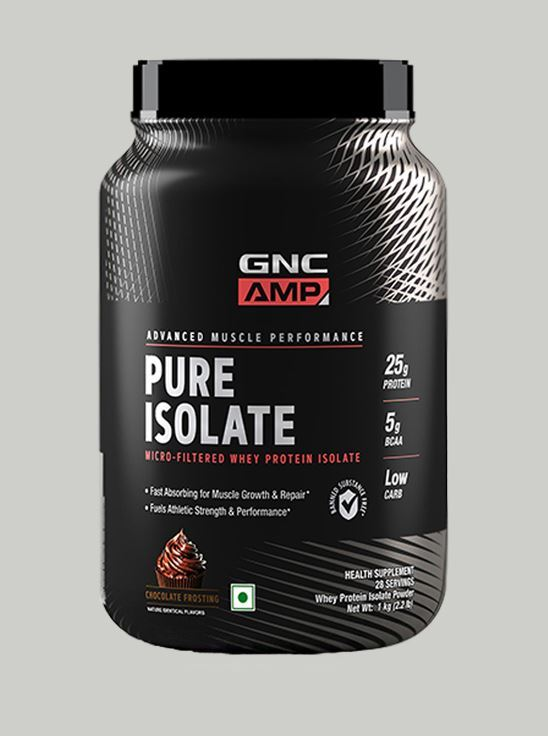 Picture of GNC AMP Pure Isolate - 25g Protein, 5g BCAA, Low Carb - 2.2 lbs, 1 kg (Chocolate Frosting)