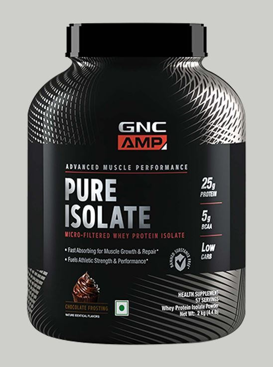 Picture of GNC AMP Pure Isolate - 25g Protein, 5g BCAA, Low Carb - 4.4 lbs, 2 kg (Chocolate Frosting)