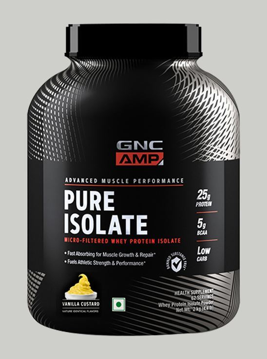 Picture of GNC AMP Pure Isolate - 25g Protein, 5g BCAA, Low Carb - 4.4 lbs, 2 kg (Vanilla Custard)
