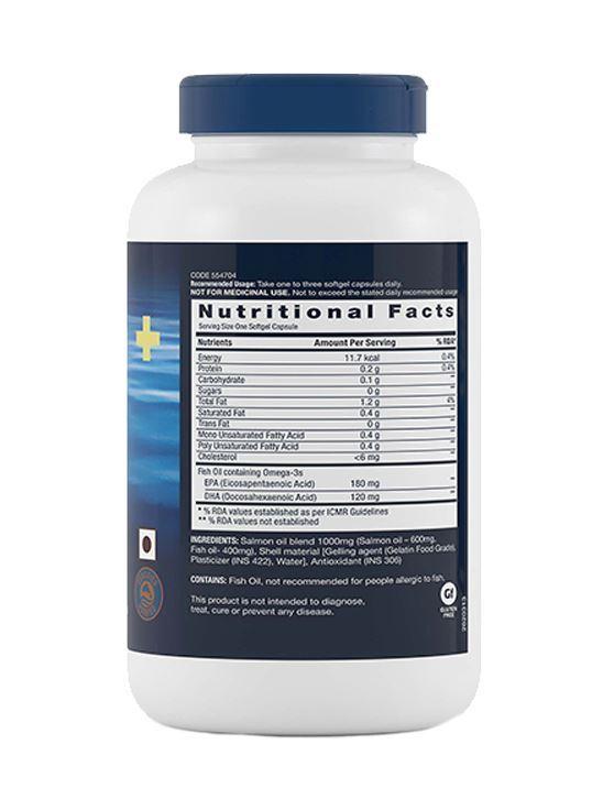 Picture of GNC Salmon Oil 1000mg Softgel Cap Rich in Omega-3 Fatty Acids