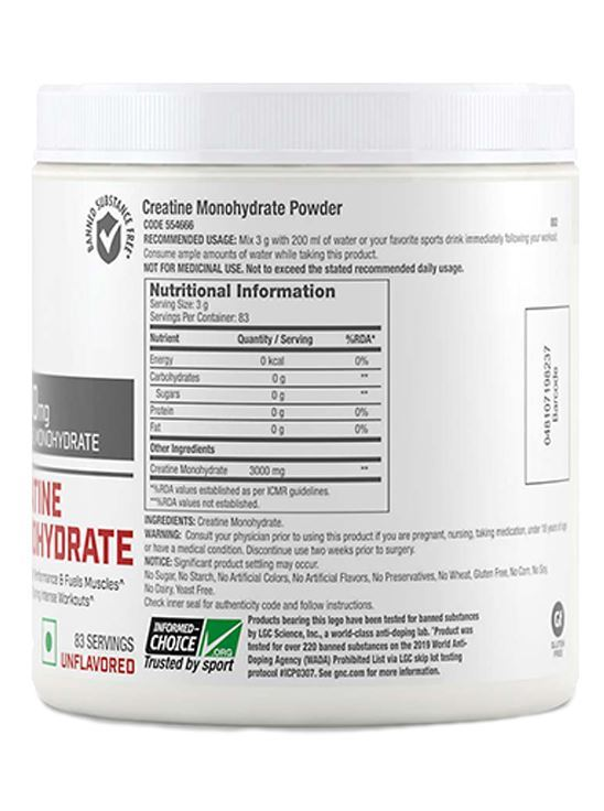 Picture of GNC Pro Performance® Creatine Monohydrate 3000 mg - 250gm (Unflavored)