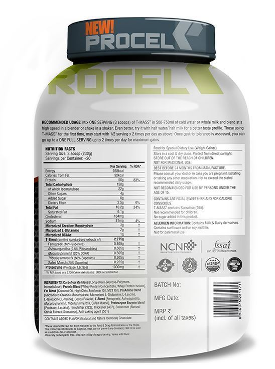 Picture of PROCEL High Protein TMASS Gainer Double Chocolate 4.5kg