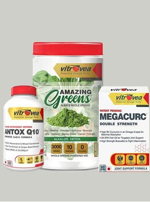 Picture of Immunity Stack - Pack of 3 (Antox Q10, Amazing Greens (Jaljeera), MEGACURC®)
