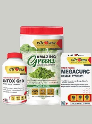 Picture of Immunity Stack - Pack of 3 (Antox Q10, Amazing Greens (Lime), MEGACURC®)