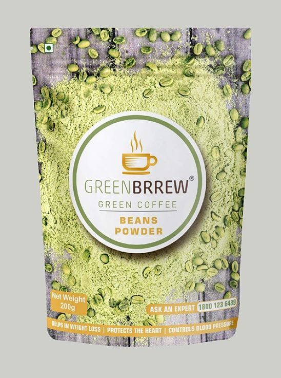 Picture of Greenbrrew Arabica ('PL-AAA') Organic Green Coffee Beans Powder for Weight Management - 200g