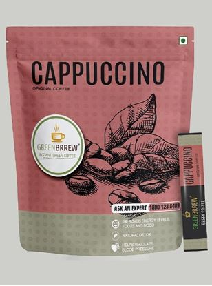 Picture of Greenbrrew Cappuccino Original Green Coffee, Instant Coffee Beverage Premix for Weight Management - (30g, 20 Sachets)