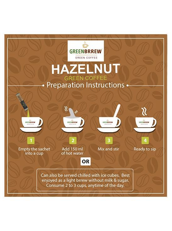 Picture of Greenbrrew Instant Natural Green Coffee for Weight Management (Hazelnut, 20 Sachets)