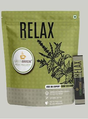 Picture of Greenbrrew Relax (Tulsi) Coffee, Instant Green Coffee Beverage Mix, 20 Sachets