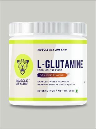 Picture of Muscle Asylum 100% Pure L-Glutamine |Enables Faster Recovery|- 50 Servings, 250gm (Orange)