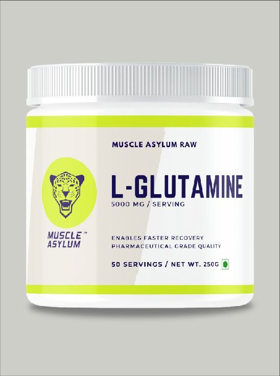 Picture of Muscle Asylum 100% Pure L-Glutamine |Enables Faster Recovery|- 50 Servings, 250gm (Unflavored)