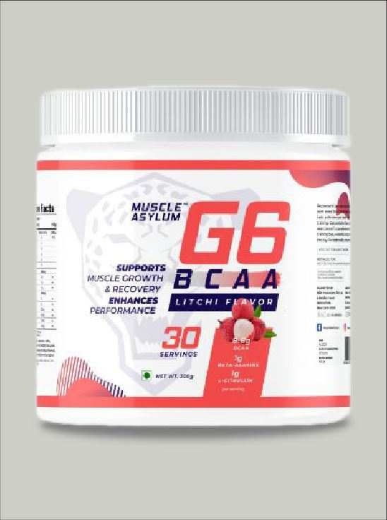 Picture of Muscle Asylum G6 BCAA with Beta Alanine, L Citrulline & Vitamin C- 30 Servings, 300gm (Litchi)