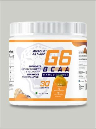 Picture of Muscle Asylum G6 BCAA with Beta Alanine, L Citrulline & Vitamin C- 30 Servings, 300gm (Mango)