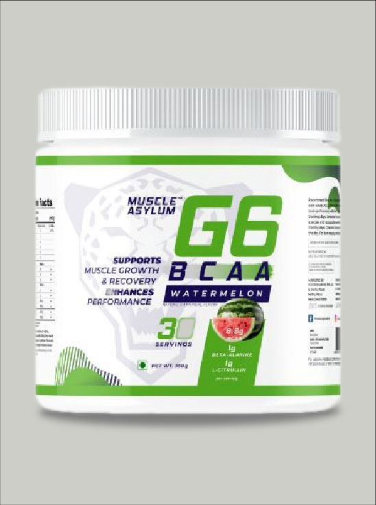 Picture of Muscle Asylum G6 BCAA with Beta Alanine, L Citrulline & Vitamin C- 30 Servings, 300gm (Watermelon)