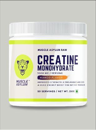 Picture of Muscle Asylum Micronized Creatine Monohydrate Powder - 50 Servings, 250gm (Mango)