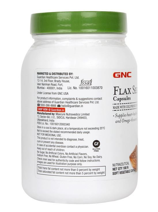 Picture of GNC Flax Seed Oil Capsules Omega 3 And Omega 6 Fatty Acids - 180 Soft Vegetable Capsules