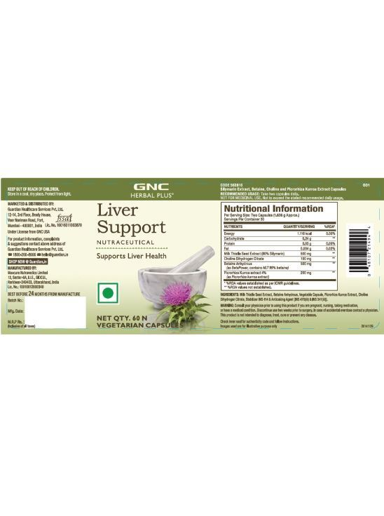 Picture of GNC Herbal Plus Liver Support - 60 Vegetarian Capsules