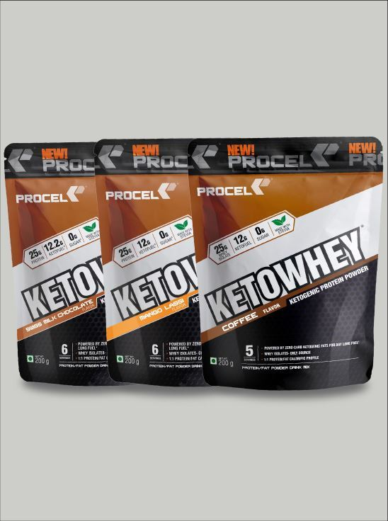 Picture of PROCEL® KETOWHEY® Keto Protein Shake with Coconut Oil & MCTs 200g x 3 Trial Packs (Swiss Chocolate, Coffee & Mango Lassi)